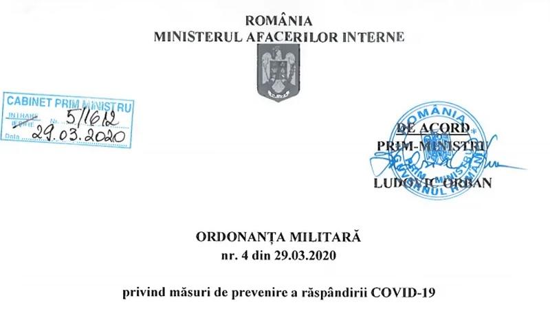 DOCUMENT. Ordonanța militară 4. Care sunt noile măsuri luate de Ministerul de Interne
