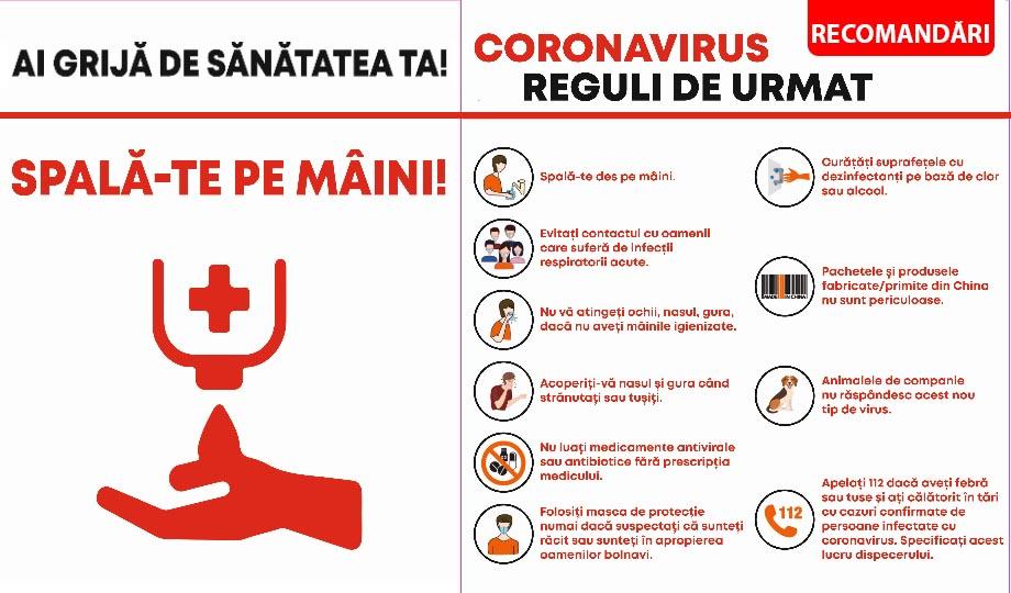 RECOMANDĂRI privind conduita în prevenirea răspândirii coronavirus (COVID-19)