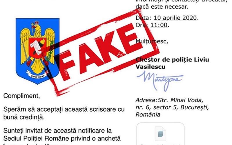Atenție la e-mail-urile false, malițioase, care par transmise de către Poliția Română!