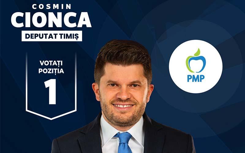"""Cosmin Cionca, candidat PMP Timiș pentru Camera Deputaților: """"Banatul merită respectul Bucureștiului!"""""""