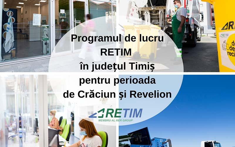 Programul de lucru RETIM în județul Timiș pentru perioada de Crăciun și Revelion