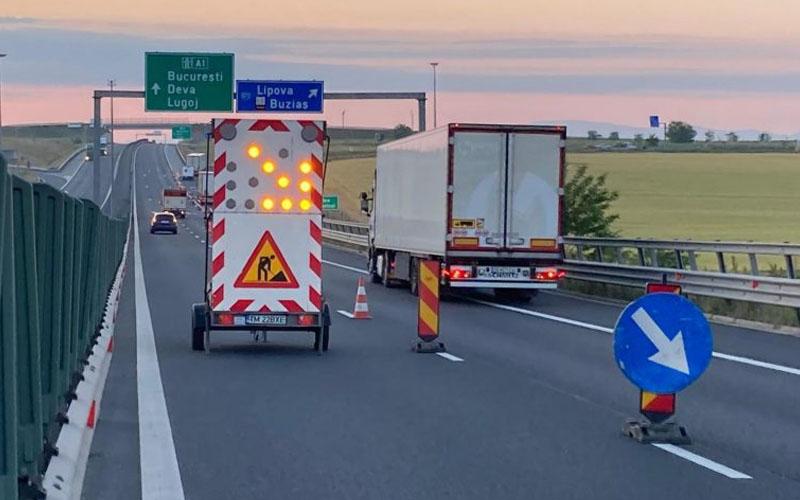 Trafic deviat astăzi de pe A1 în Timiș pentru lucrări de urgență